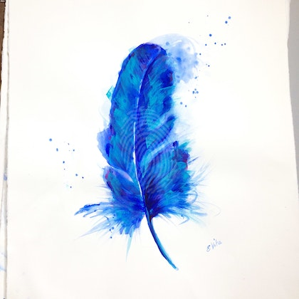 Blue Bird Feather B