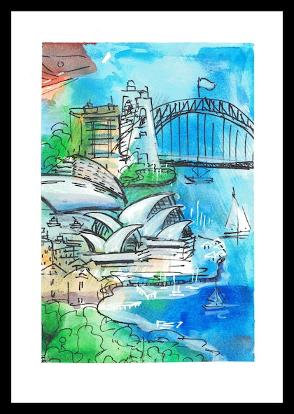 Sydney's Mosaic #6 and #7 - Two paintings 10x15 cm each