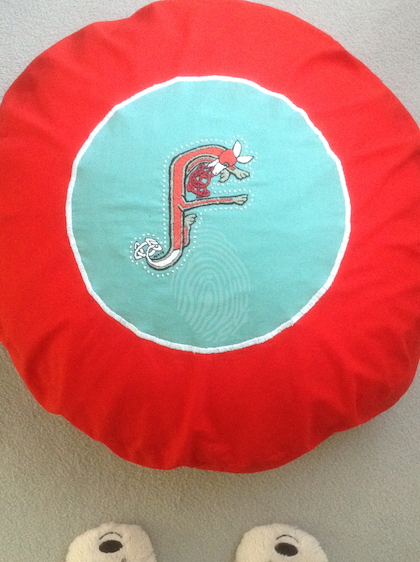 Large Fox Letter F pillow Cushion Hand embroidered 2017