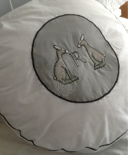 Large Rabbits Monogram R  pillow Cushion Hand embroidered 2017