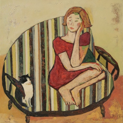 Girl in striped armchair