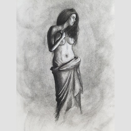Girl in charcoal figure study 2
