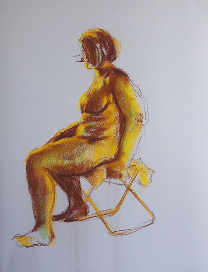 Life Drawing - Sitting Lady - Brown & Gold