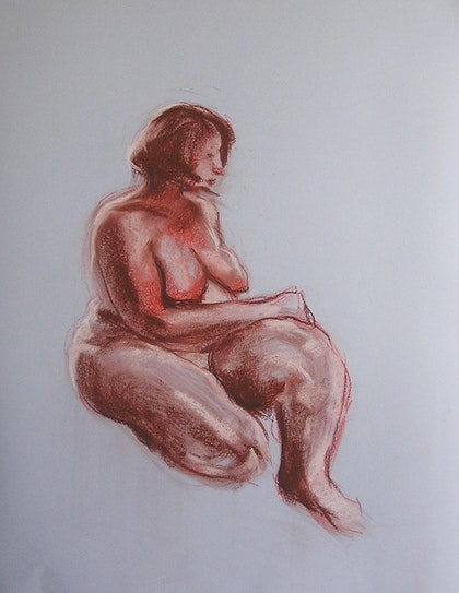 Life Drawing - Sitting Lady - Brown & Red
