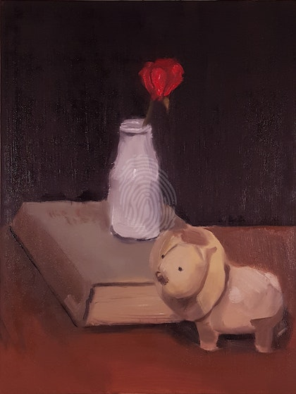 Still Life with Vase, Book and Lion