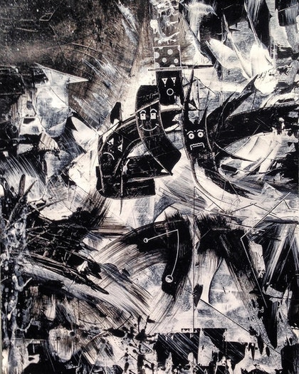 Charcoal chariot beings