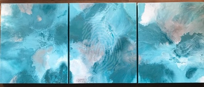 "ORIGINAL ABSTRACT ART PAINTING ON STRETCHED CANVAS  ""TEAL TRIPTYCH""  METALLIC TEAL WHITE MINT SILVER"