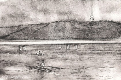 Scullers on Lake Burley Griffin - Intaglio Etching 2 of 10  Ed. 2 of 10