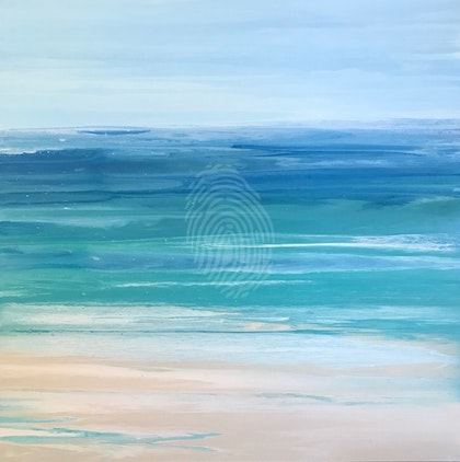 "ORIGINAL ABSTRACT ART PAINTING ON STRETCHED CANVAS  ""OCEAN PEACE""  BLUE WHITE TURQUOISE SANDY BEIGE"