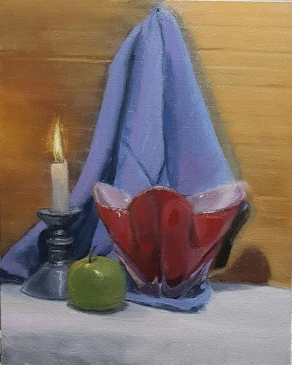 Still Life with Candle, Vase and Apple