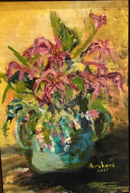 Blue pot and the pink lilies