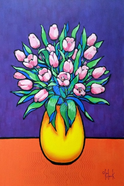 Pink Tulips in Yellow Vase