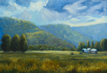 Oil on canvas - An afternoon near Myrtleford, VIC