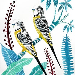 Yellow budgies tropical plants sally browne bluethumb art 9b3e