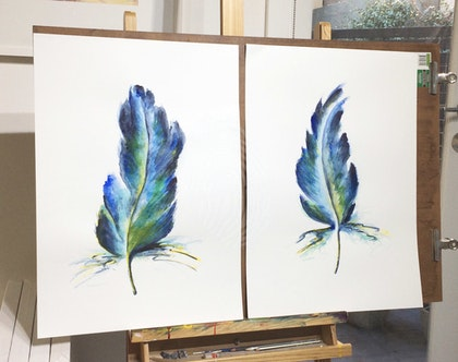 Bird Feathers BlueGreen - Set of 2 Original Watercolour Painting A2 size