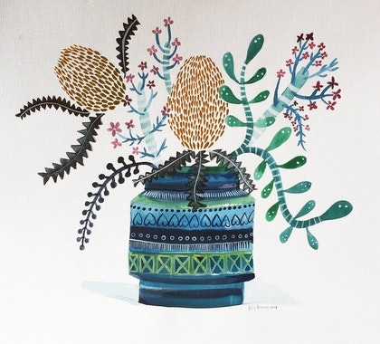 Bitossi Vase of Banksias and Succulents