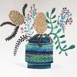 Bitossi vase of banksias and succulents sally browne bluethumb art 31b0