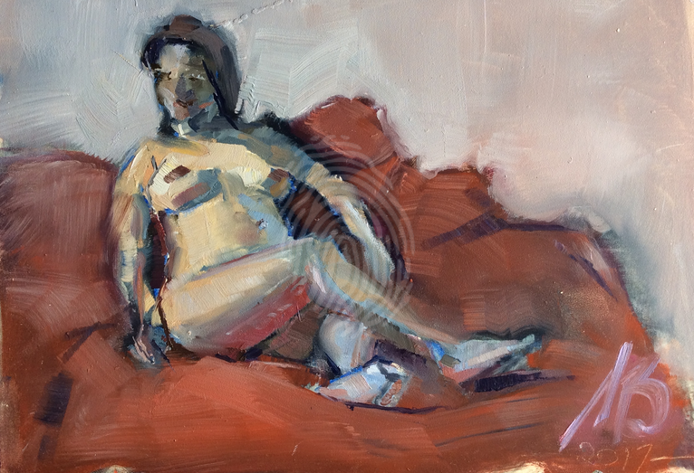 Nude on Brown Couch