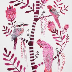 Magenta birds and proteas sally browne bluethumb art 75d1