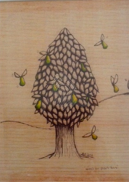 Wings on Pear Tree Rare hand coloured Giclee Ready to hang