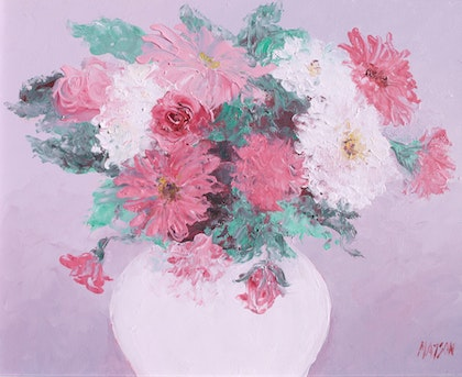 Pink and white Chrysanthemums - Framed