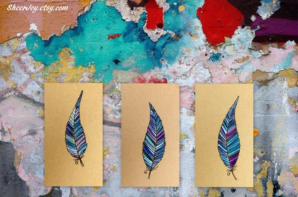 Feathers - 10 ORIGINAL feather drawings