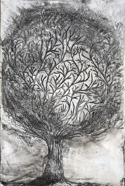 Essence of a Tree 2 - Black, white and silver