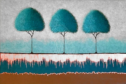 Three Teal Trees