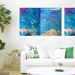 Enigmatic ocean 3 original canvas panels as a triptych acrylic paint sealed and glazed margaret morgan watkins bluethumb art dfb1