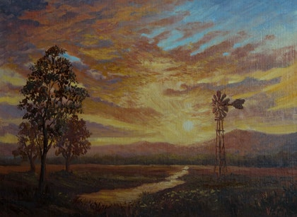 Sunset near Narrabri - Oil on Belgian linen