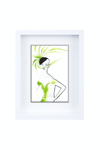 Green Feathers Limited Edition Framed Print Ed. 1 of 25
