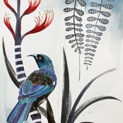 Tui flax flower and kowhai leaves sally browne bluethumb art da28