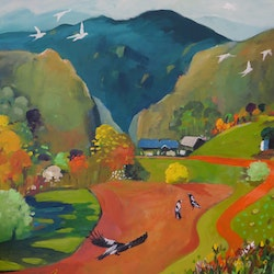 Green mountain with magpies susan trudinger bluethumb art 3e6a
