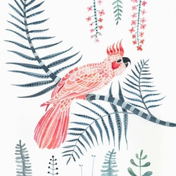 Blush pink cockatoo in palm forest sally browne bluethumb art 4775