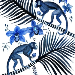 Indigo monkeys cymbidium orchids and palms sally browne bluethumb art ec85