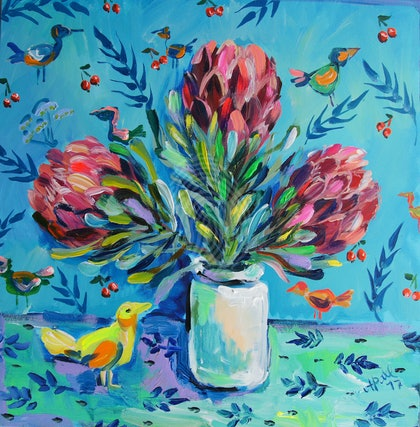 Proteas and the Yellow Bird