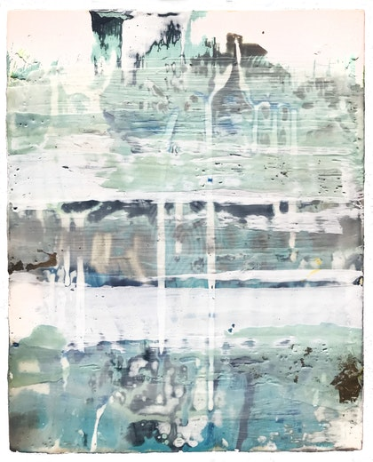 Desire for structure and the sea -encaustic