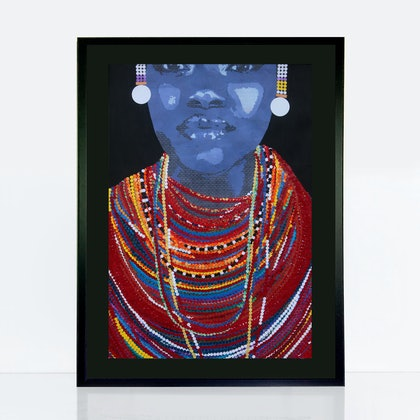 woman with beads collage