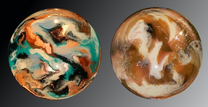 DOUBLE-SIDED RESIN PAINTING - ESPRESSO / MINT JULEP