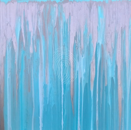 """ORIGINAL ABSTRACT ART PAINTING ON STRETCHED CANVAS  """"BEACH HOUSE""""  MINT GREEN WHITE AND METALLIC COPPER"""