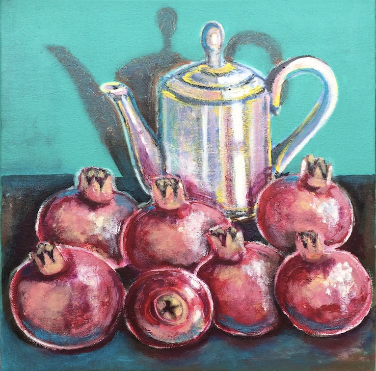 Still life with a coffee pot and pomegranates