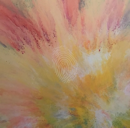 """ORIGINAL ABSTRACT ART PAINTING ON STRETCHED CANVAS  """"HERE COMES THE SUN""""  YELLOW ORANGE FUCHSIA PINK PUPRLE WHITE TURQUOISE"""