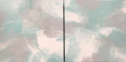 """ORIGINAL ABSTRACT ART PAINTINGS SET OF 2 ON STRETCHED CANVAS  """"CALM ME""""  MINT GREY WHITE"""