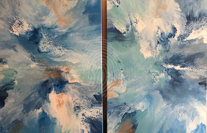 """ORIGINAL ABSTRACT ART PAINTINGS SET OF 2 ON STRETCHED CANVAS  """"UNDER THE SEA""""  BLUE SEA GREEN WHITE METALLIC COPPER"""