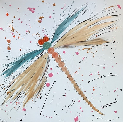 """ORIGINAL ABSTRACT ART PAINTING ON STRETCHED CANVAS  """"ARTY FARTY DRAGONFLY""""  TEAL GREEN GOLD BLACK PINK ORANGE"""