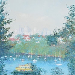 Mosman bay ferry and sydney skyline jan matson bluethumb art 55e2