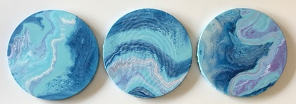 """ORIGINAL ABSTRACT ART PAINTING ON ROUND STRETCHED CANVAS x 3  """"SEA DREAMS""""  BLUE TEAL WHITE MAGENTA PINK"""