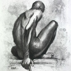Charcoal male nude figure study pauline adair bluethumb art e519
