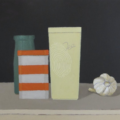 Acrylic Canvas Painting - Still Life with Stripy Tin, Tea Container, Green Vase and Garlic - Australian Artist Shellie Cleaver