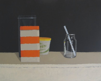 Acrylic Painting -  Art -Still Life with Stripy Tin and Blue Straw - Australian Artist Shellie Cleaver - Acrylic Canvas Painting